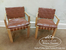 Rustic Texas Cypress Pair of Ranch Oak Arm Chairs w/ Woven Naugahyde