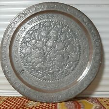 Handmade Antique Persian heavy story Egraved sterling silver Copper TRAY 78cm