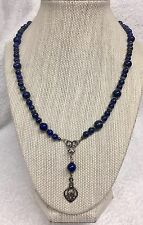 "Vintage Sterling Silver & Lapis Lazuli Necklace 19"" Long"