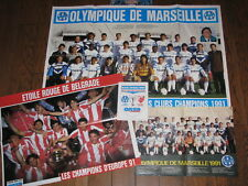 LOT de 3 Posters + sticker  : spécial OLYMPIQUE de MARSEILLE 1991 OM + BELGRADE