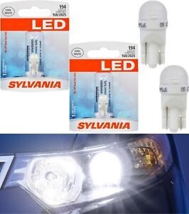 Sylvania LED Light 194 T10 White 6000K Two Bulbs Front Side Marker Stock Lamp