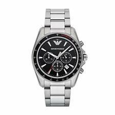 *BRAND NEW* Armani Emporio Sigma Black Dial Chrono Silver Tone Watch AR6098
