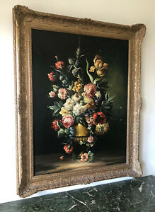 LARGE & STUNNING QUALITY 19th CENTURY CONTINENTAL OIL ON CANVAS - FLOWERS IN URN