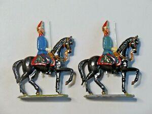 2 Vintage Metal Toy Soldiers Mounted on Horseback Prussian Hand Painted