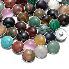 20pcs/lot Natural Stone 18mm Chunk Snap Button Charms Fit Snaps Jewelry HM009