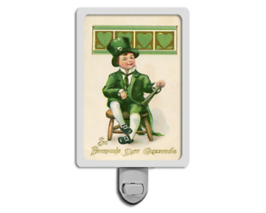 Funny St Patrick's Day Vintage Style Lucky Green Leprechaun Holiday Night Light
