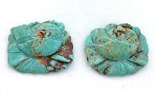 73.65 Carat Two Custom Flower Turquoise Bead Gem Stone Gemstone EBS6316