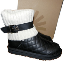 Ugg Australia Cambridge Boot Black Quilted Leather Booties 8-39 Sweater Sale