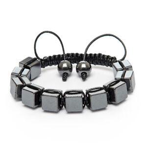 Shamballa Bracelet Hand Made UK Unique Gunmetal Grey Hematite Cube Black Beaded