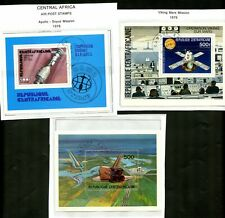 LOT 80863 USED 4499 , C138 AND C154  CENTRAL AFRICA SOUVENIR SHEET SPACE APOLLO