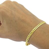Real 10K Yellow Gold Hollow Cuban Men & Women Bracelet / Anklet 2.0mm - 5.5mm