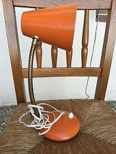 Ancienne LAMPE ORANGE de chevet de bureau Vintage Flexible Fonctionne années 70