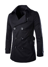 Men Split Lapel Double Breasted Belted Trench Coat Black L 129
