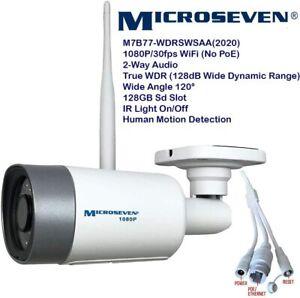 Microseven 1080P/30fps WiFi Outdoor IP Camera WDR Two-Way Audio 128GB Slot Alexa