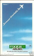 Airline Timetable - Manx - Summer 90 - Ed 1 - S