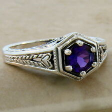Sterling Silver Ring Sz 8, #508 Genuine Dark Purple Amethyst Antique Style .925