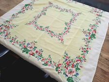 Vintage 40s 50s Floral Print Tablecloth Pale Green Pink Periwinkle Blue 48 x 46