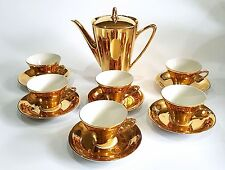 VTG SELTMANN BAVARIA GERMANY GOLD COFFEE SET 6 DEMITASSE CUPS SAUCERS COFFEE POT