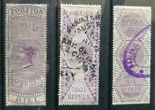 India, Victorian Revenue 1861 Foreign Bill 2, 3, 6 Rupees