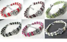 LOT 6PCS Tibetan Jewelry Silver Tone Metal Flower AGATE JADESTONE Beads BRACELET
