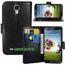 black WALLET Leather phone case with card slots Samsung Galaxy S4 IV i9500 Plain