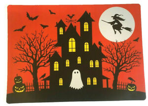 Haunted House Placemats Set of 4 Vinyl Halloween Foam Back Witch Ghost Pumpkins
