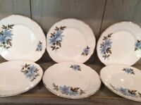 "Royal Stafford Set of 6 Side Plates - Blue Flower 7"" Diameter"