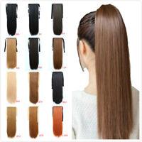 24inch Queue de Cheval Postiche Extension de Cheveux Lisse Ponytail Clip in Hair