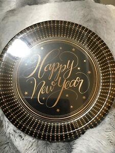 """8 Ct. Happy New Year Black & Gold (8 5/8"""") Dinner Plates"""