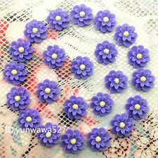 NEW 20pcs purple Resin flower flat back Scrapbooking For phone/craft1