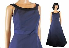 David's Bridal Formal Gown Sz 6 S Long Sleeveless Navy Blue Taffeta Satin Dress