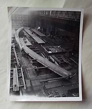 1960s B/W Photograph. Factory Shop Floor. Assembly of Arch Rib. Shipbuilding?