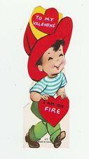 Vintage Valentine Card Fireman Boy 1960's Fire Fighter Die-Cut