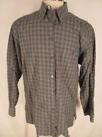 Ermenegildo Zegna Mens Grey Plaid Long Sleeve Cotton Shirt XXL Italy Made