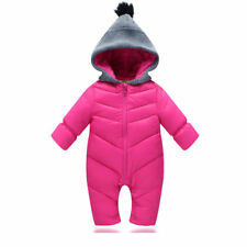 Winter Baby Rompers Keep Warm Duck Down Overalls Hooded Boy Girl Clothes Coat Rose 9-12 Months