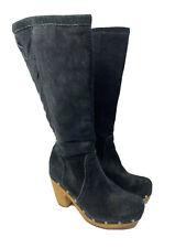 UGG Rumor Black Suede Woven Leather Boot Wood Clog Heel Women's US 8 EUR 39