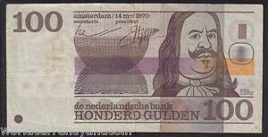 NETHERLANDS 100 GULDEN P93 1970 EURO COMPASS CARD RARE CURRENCY MONEY BILL NOTE