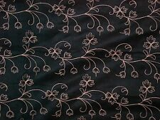"""""""""""BLACK ULTRA SUEDE WITH EMBROIDERED BEIGE ROWS OF FLOWERS"""""""" - FABRIC"""