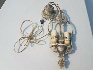 Vintage Ornate Art Deco Hanging Swag Light Double Bulb