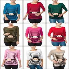 Witzige süße Umstandsmode T-Shirt mit Motiv Schwangerschaft Geschenk Guck BV1