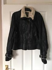 Women faux fur biker jacket size 16 EVIE