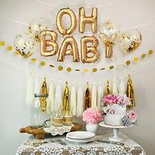 40 cm OH BABY Gold foil balloons with ribbons for Baby Shower birthday party AUS