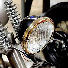 """BRASS & BLACK 4-3/4"""" BOBBER CHOPPER SPRINGER HEAD LIGHT LAMP HARLEY TRI XS650"""