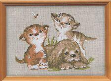 Stickpackung Stickbild sticken 24x18 cm Katze Katzen Hund Welpe Kitten Hündchen