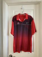 Nike Golf Tiger Woods Collection Red Stripe Country Club Polo Sz L Dri Fit Shirt