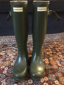 Hunter Norris Field Adjustable Boots UK5 EU38 Vintage Green Wellies Wellingtons
