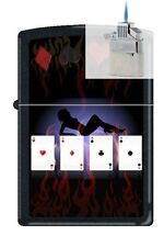 Zippo 9805 poker lady 4 aces Lighter & Z-PLUS INSERT BUNDLE