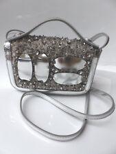 Moschino Designer Handtasche - Silver Metallic Crystals Flap Bag,NEU
