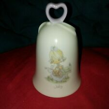 """Vintage Enesco Precious Moments Porcelain Bell 4.5"""" July Picnic Made In Japan"""