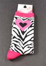 NWT New K Bell Socks Pink Heart Top Toe Black White Zebra Crew Size 9-11